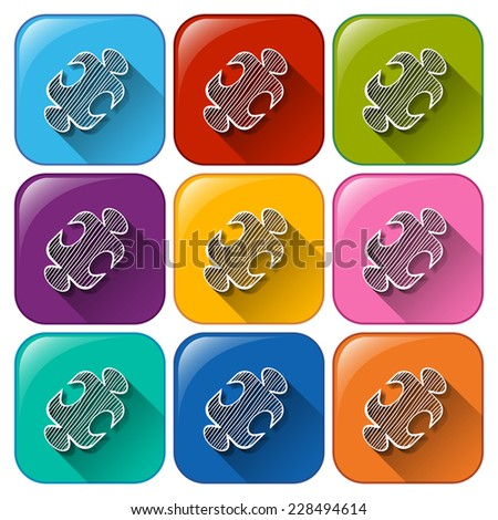 Colourful buttons with mathematical figure on a white background