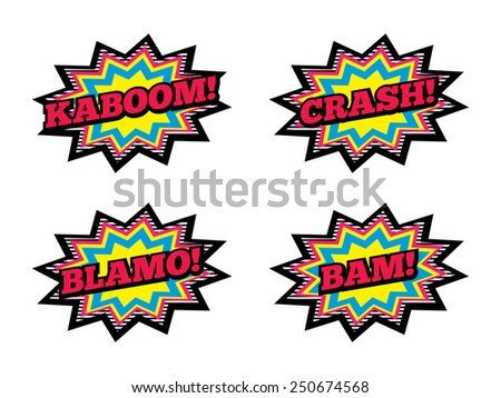 4 Comic Book Explosions. Kaboom, Crash, Blamo and Bam. - stock vector