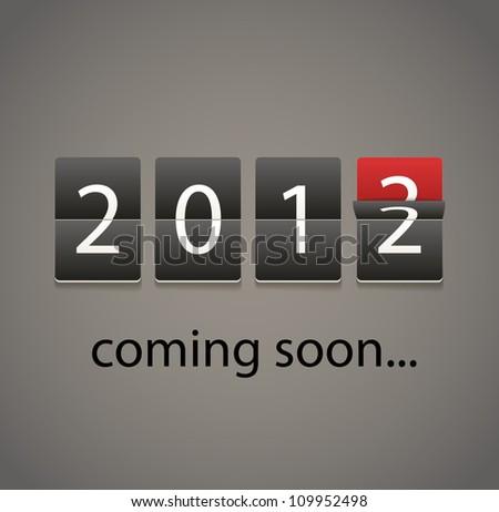 2013 coming soon. Paper board - stock vector