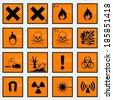 16 Common hazard sign vector illustration. - stock vector