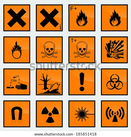 16 Common hazard sign vector illustration. - stock vector