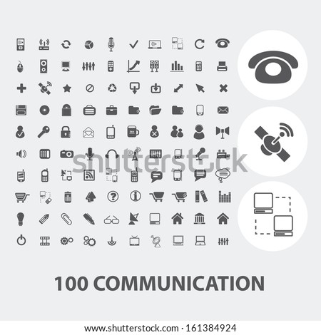 100 communication black icons set, vector - stock vector