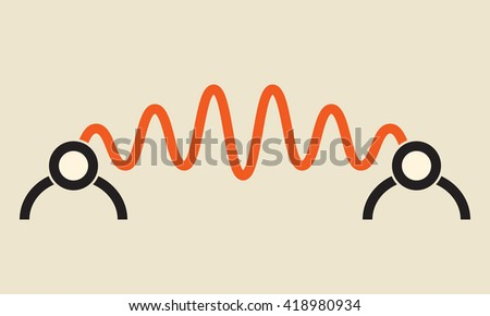 communication channel between two people - stock vector