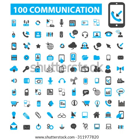 100 communication, connection icons: connect,  talking,  business communication,  phone, mobile technology, message, sending. Vector illustration - stock vector