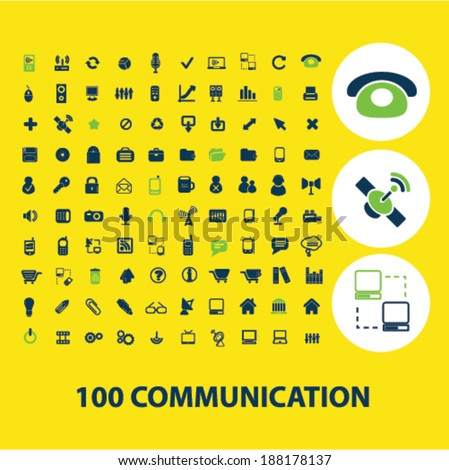 100 communication, connection icons set, vector