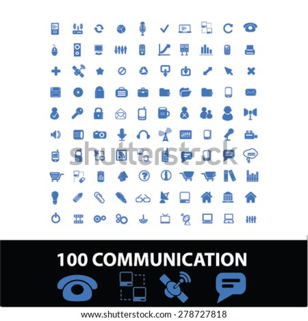 100 communication, connection icons, signs, illustrations set, vector - stock vector