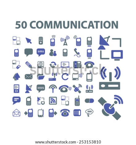 50 communication, connection, internet concept - flat isolated icons, signs, illustrations set, vector