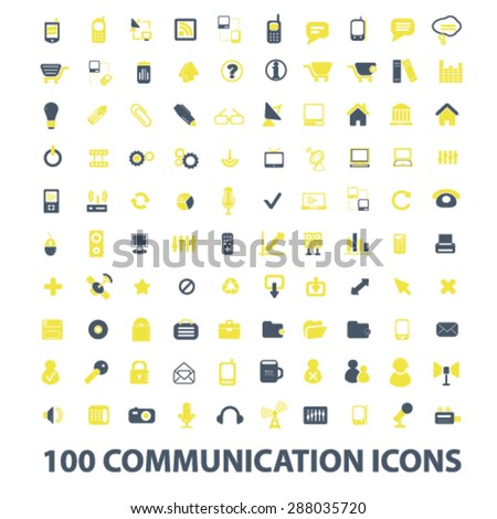 100 communication, connection, internet, mobile icons, signs, illustrations set, vector - stock vector