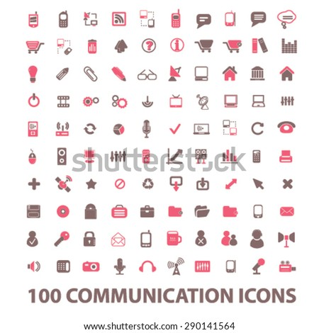 100 communication, connection isolated icons, signs, illustrations, vector for internet, website, mobile application on white background - stock vector