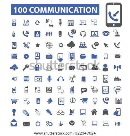 100 communication, connection, phone icons - stock vector