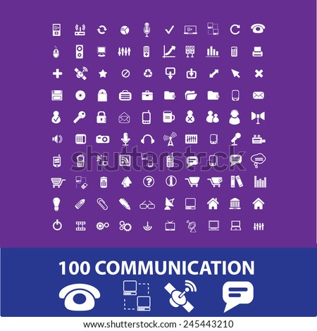 100 communication, connection, phone, smartphone, link, cloud, networks icons, signs, vector illustrations - stock vector