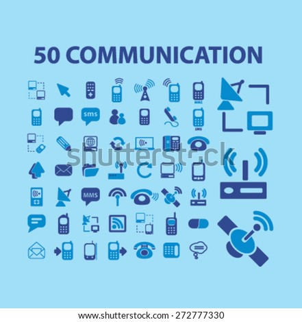 50 communication, connection, technology, computer icons, signs, illustrations set, vector