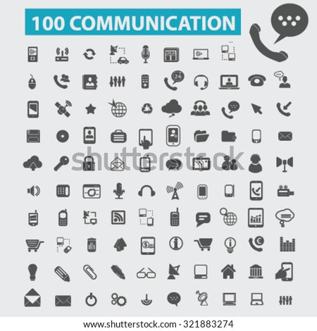 100 communication, connection, technology icons - stock vector
