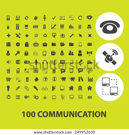 100 communication, connection, technology icons, signs, illustrations on background set, vector - stock vector