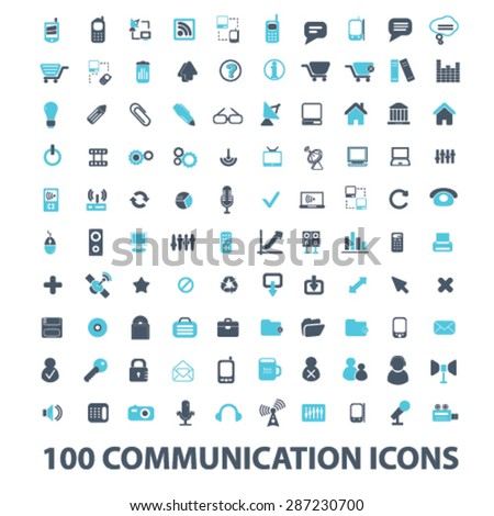 100 communication, connection, technology, internet, network, phone, mobile icons, signs, illustrations set, vector - stock vector