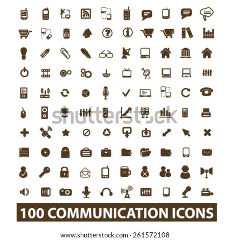 100 communication, connection, technology isolated icons, signs, illustrations collection concept design set for web and application on background, vector - stock vector