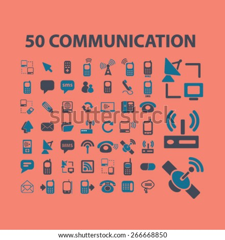 50 communication, connection, technology isolated icons, signs, illustrations concept website internet design set, vector - stock vector