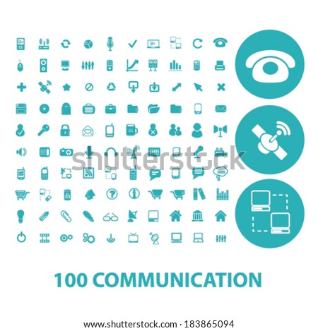 100 communication flat icons set  for digital web, print, design, mobile phone apps, vector - stock vector