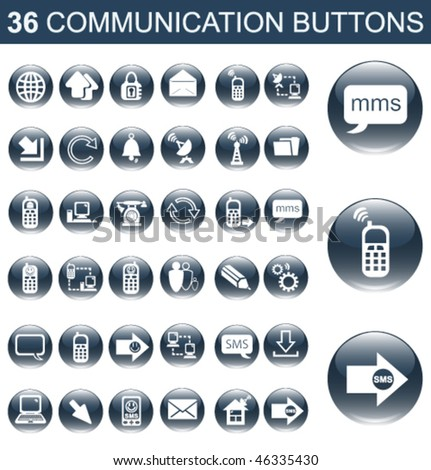 36 Communication Glossy Buttons Set - stock vector