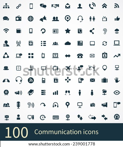 100 communication icons on white background  - stock vector