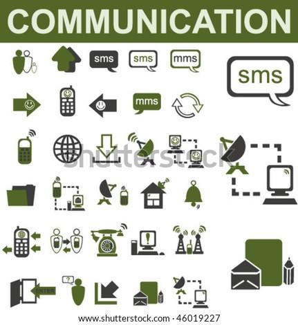 30 Communication Icons Set - stock vector