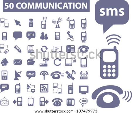 50 communication icons set, vector