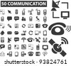50 communication icons set, vector illustrations - stock photo