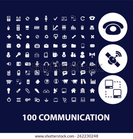 100 communication icons, signs, illustrations concept design set on background, vector - stock vector