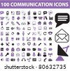 100 communication icons, signs, vector - stock vector