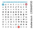 1000 communication infographics icons set, vector - stock vector