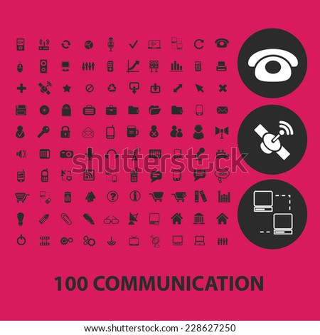 100 communication, internet, phone, connection black isolated icons, signs, symbols, illustrations set, vector - stock vector
