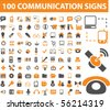 100 communication signs. vector - stock