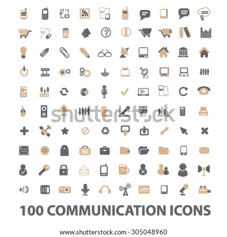 100 communication, technology flat icons, signs, illustration concept, vector - stock vector
