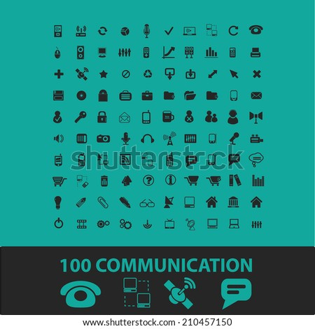 100 communication technology icons, signs, symbols, objects, illustrations set. vector - stock vector