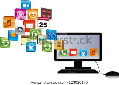 computer has many objects . email download concept , internet research, etc - stock vector