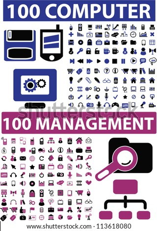 200 computer & management icons set, vector - stock vector