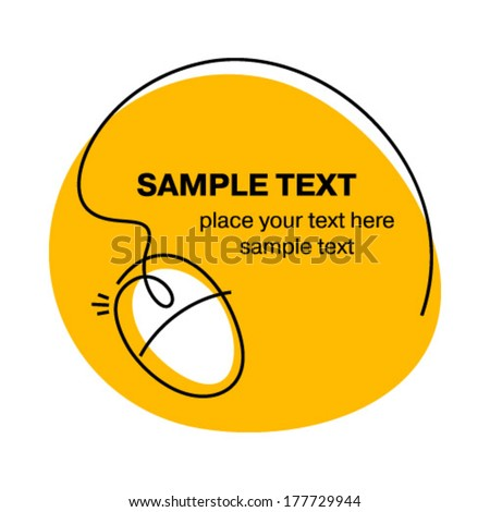 computer mouse sketch - stock vector