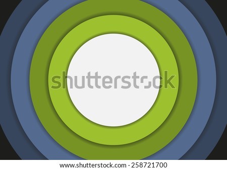 6 concentric circles in cold colors background with copyspace - stock vector