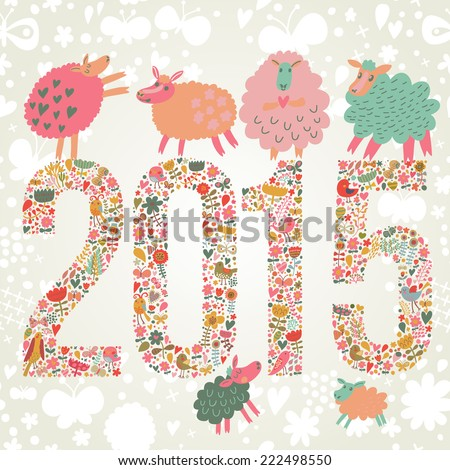 2015 concept New Year background. 2015 made of bright flowers with funny sheep on top in vector - stock vector