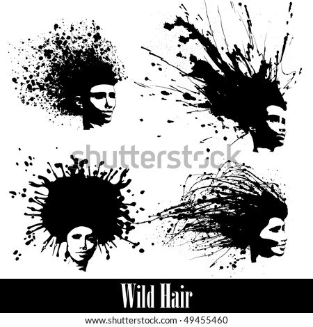4 concept silhouettes of women hair styles. Vector Illustration - stock vector