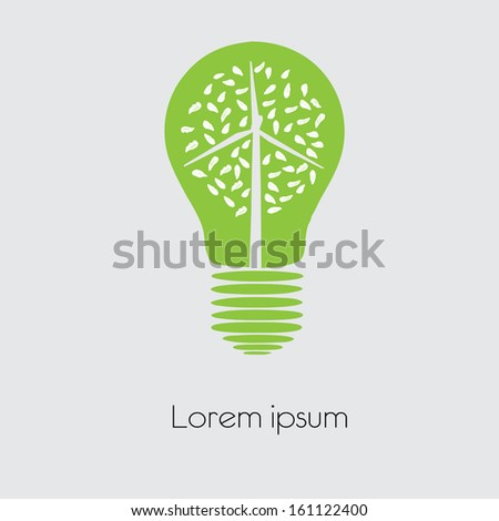 Concept Wind turbine  in light bulb symbol of renewable energy   - stock vector
