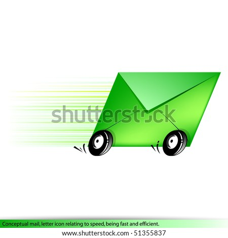 Conceptual icon letter for delivery fast and efficient. Vector. - stock vector