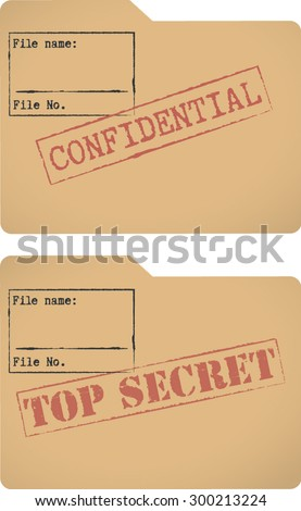 'Confidential' and 'Top secret' document file templates - stock vector