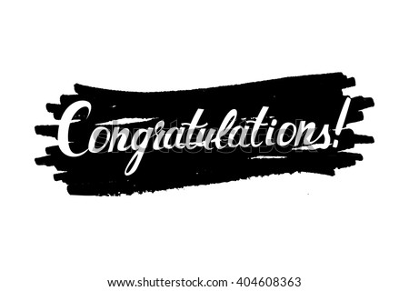 """Congratulations"" original handwritten calligraphy . For web and mobile icon isolated on background, art template, retro elements, logo, identity, labels, badge, ink, tag, card"