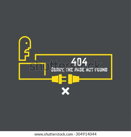 404 connection error. Abstract background with wire plug and socket. Sorry, page not found. vector. - stock vector