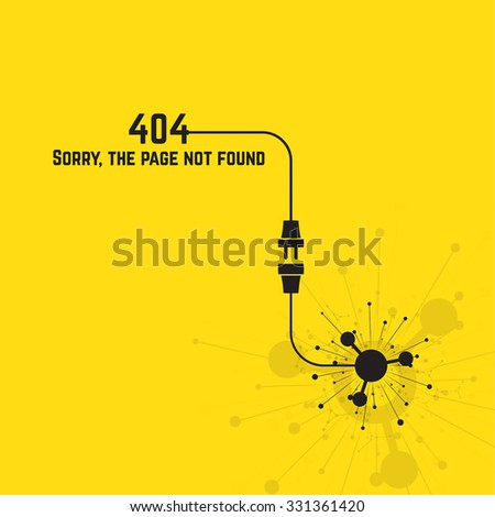 404 connection error. Abstract background with wire plug and socket. Sorry, page not found. vector. The explosion of molecules, scattering particles. - stock vector
