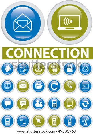 24 connection glossy buttons. vector