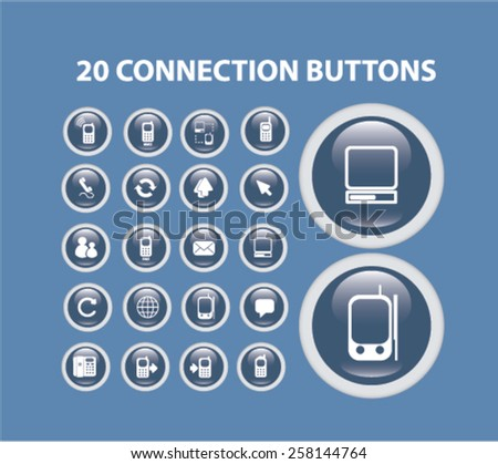 20 connection isolated icons, buttons, signs, illustrations design concept set for web, internet, application, vector - stock vector