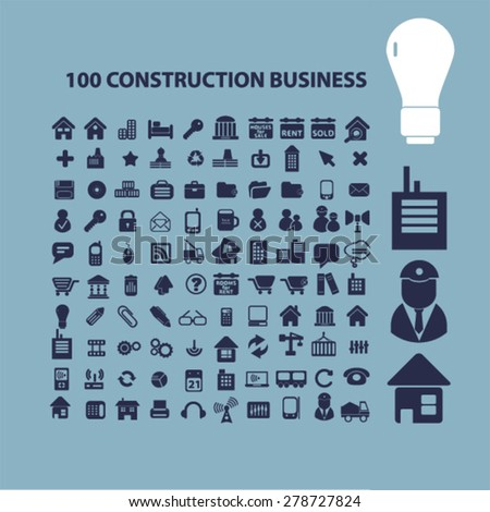 100 construction business icons, signs, illustrations set, vector - stock vector
