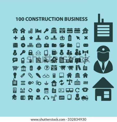 100 construction business, technology, real estate icons, signs set for infographics  - stock vector
